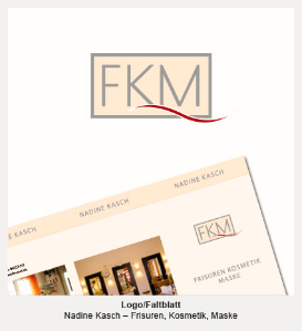 Logo und Faltblatt- FKM, Frisuren Kosmetik Maske, Nadine Kasch