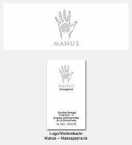 Logo und Visitenkarte - Manus, Massagepraxis