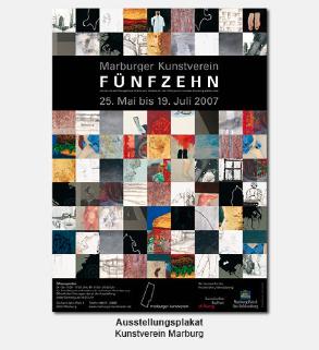 Plakat, Poster - Kunstverein Marburg, Ausstellung fünfzehn