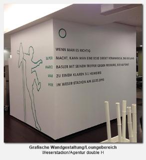 grafische Wandgestaltung, Loungebereich Stadion - Weserstadion, Agentur double H