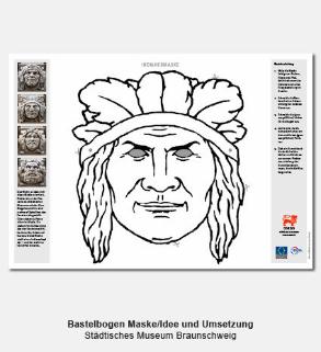 Didaktischer Bastelbogen, Indianermaske - Städtisches Museum Braunschweig
